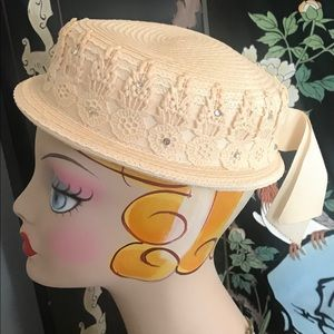 Vintage Embellished Boater Hat